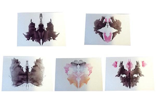 Alcune delle Macchie create e utilizzate da Hermann Rorschach poi da lui stesso scartate e non entrate a far parte della serie di stimoli diffusa in tutto il mondo