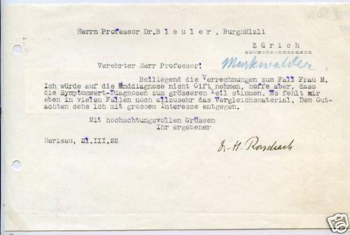 Una lettera che H. Rorschach scrisse allo Psichiatra Svizzero Eugen Bleuler Direttore del Burgholzli pochi giorni prima di morire il 2 aprile dello stesso anno, in basso la firma di Rorschach